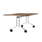 Mobile conference table Timetable with veneer and silver-coated table legs