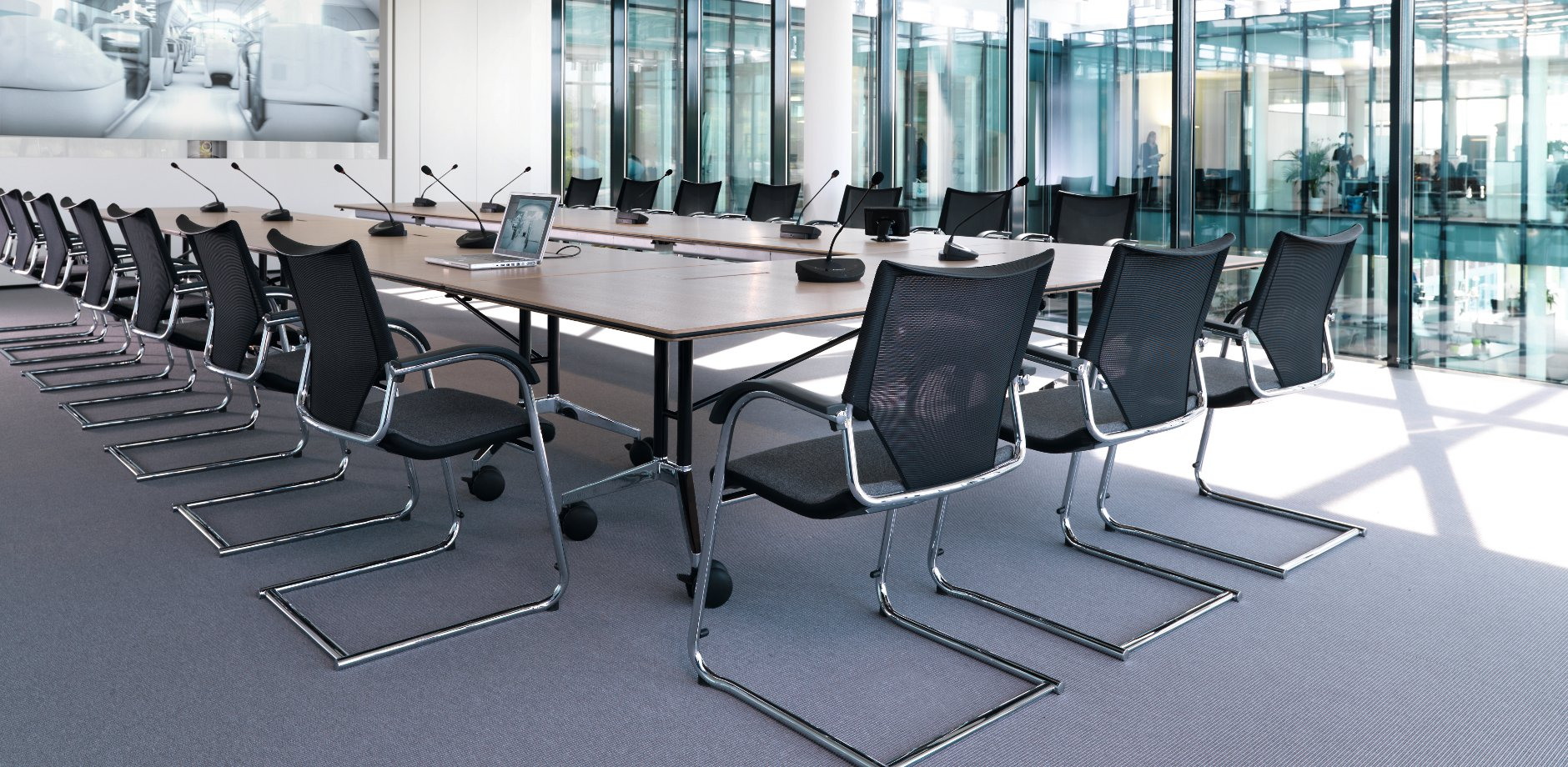 Schott AG, Modus cantilever chair, Confair folding table by Wilkhahn