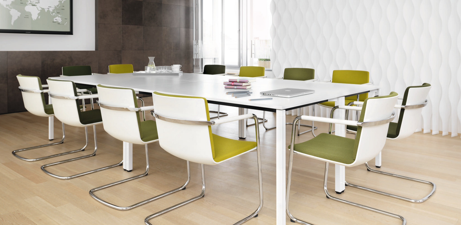 conference table Conversa and cantilever Neos covered with green fabric